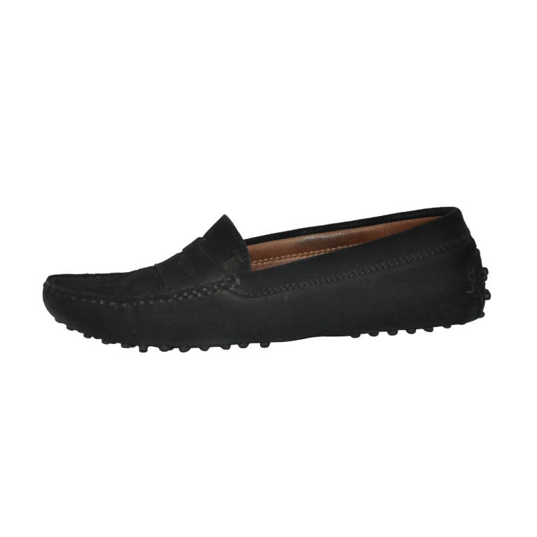 TOD's Black Suede Driving Shoe For Sale