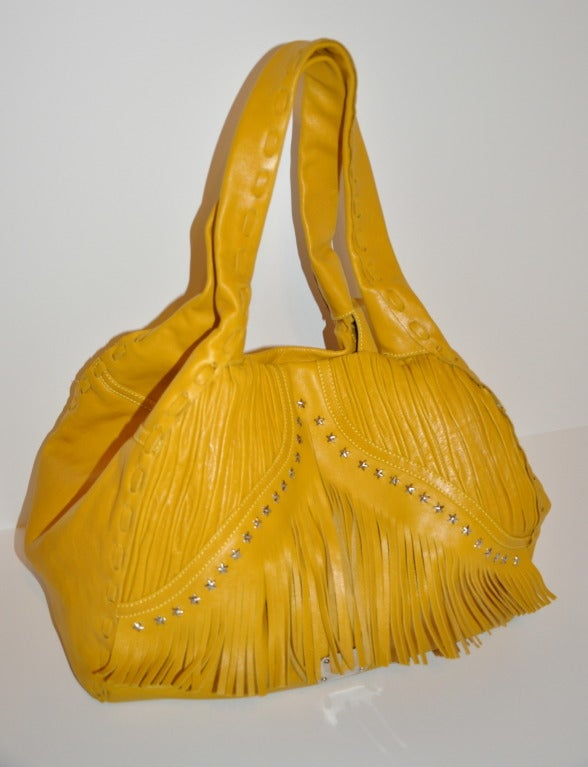 Orange Jimmy Choo Banana-Yellow Huge Leather fringe Tote Bag For Sale