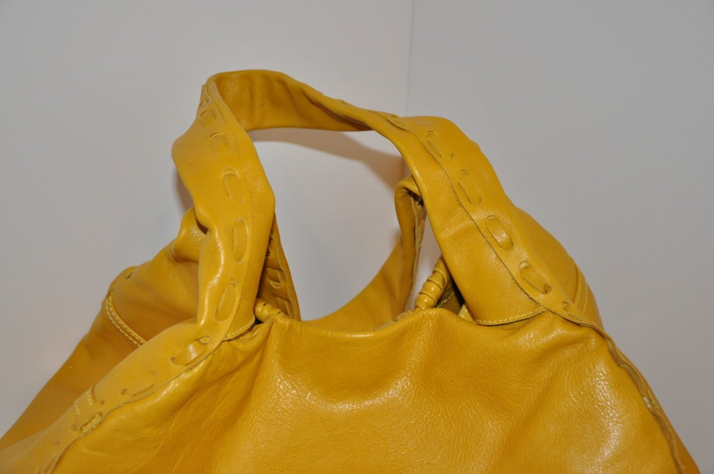 Jimmy Choo Banana-Yellow Huge Leather fringe Tote Bag For Sale 1