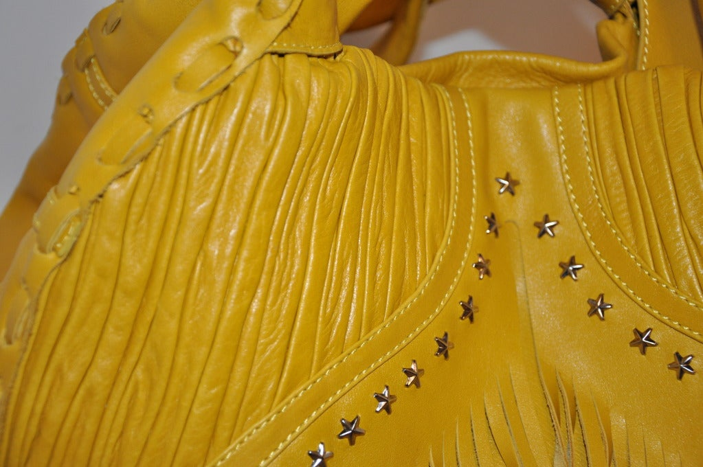 Jimmy Choo Banana-Yellow Huge Leather fringe Tote Bag For Sale 3