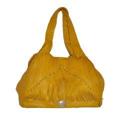 Jimmy Choo Banana-Yellow Huge Leather fringe Tote Bag
