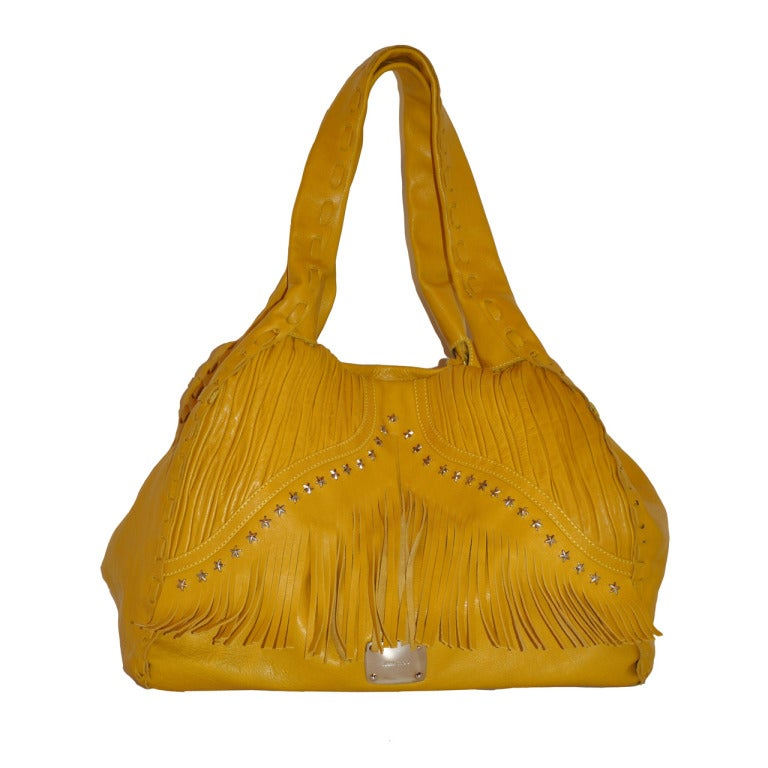 Jimmy Choo Banana-Yellow Huge Leather fringe Tote Bag For Sale
