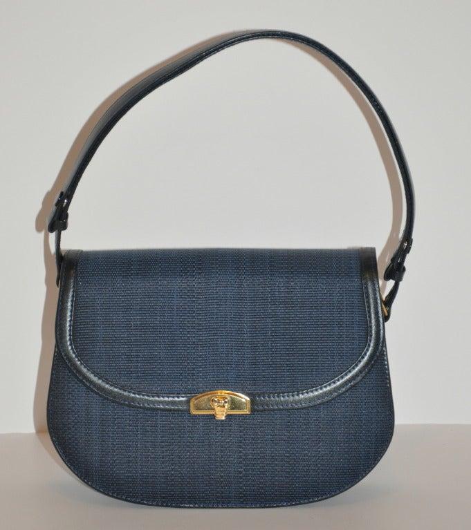 dde7c3f77c30 Elegance Classic Navy Horse-Hair Handbag For Sale at 1stdibs