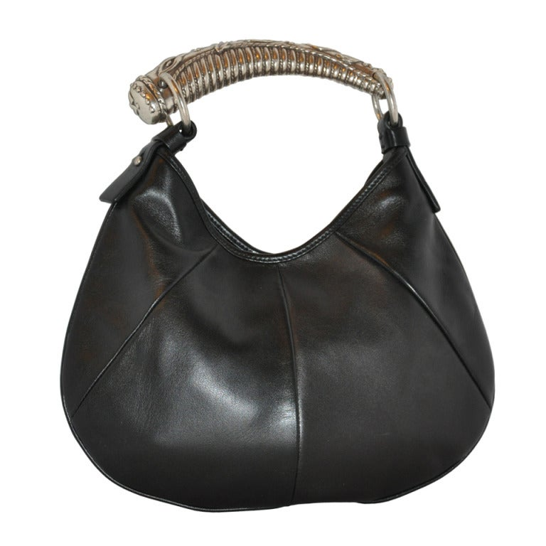 Yves Saint Laurent Black leather with Heavy silver Hardware Bag