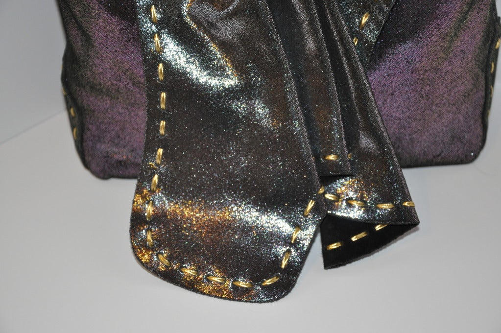 Carlos Falchi Textured Embossed Gun-Metal Plum & Charcoal Handbag In New Condition For Sale In New York, NY