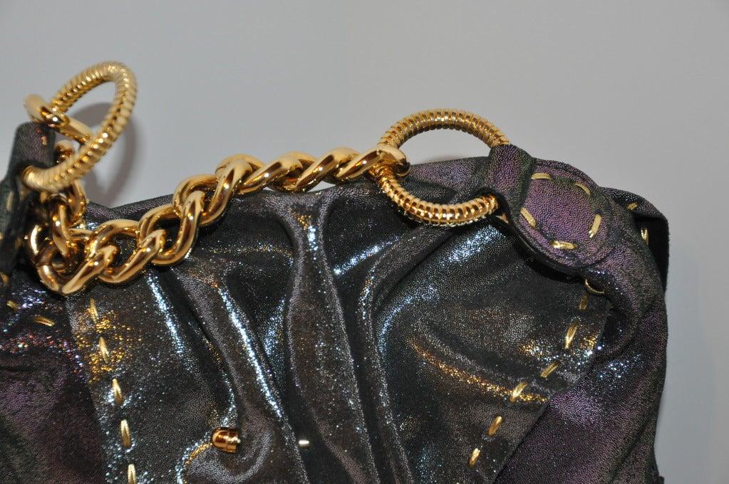 Women's Carlos Falchi Textured Embossed Gun-Metal Plum & Charcoal Handbag For Sale