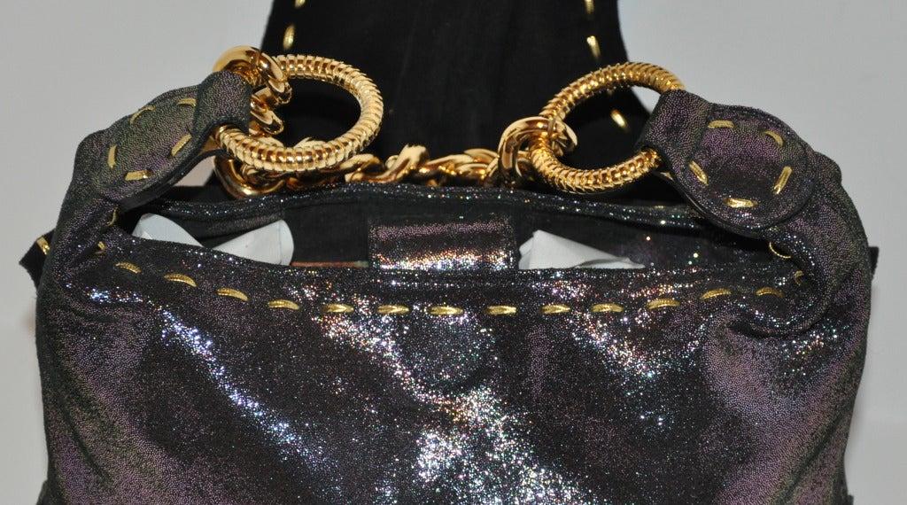 Carlos Falchi Textured Embossed Gun-Metal Plum & Charcoal Handbag For Sale 1