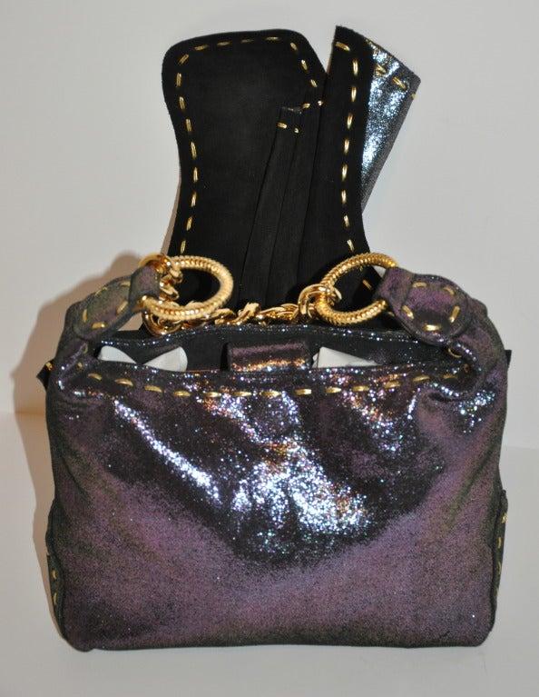 Carlos Falchi Textured Embossed Gun-Metal Plum & Charcoal Handbag For Sale 2