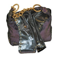 Carlos Falchi Textured Embossed Gun-Metal Plum & Charcoal Handbag