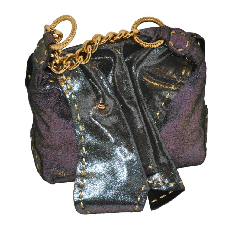 Carlos Falchi Textured Embossed Gun-Metal Plum & Charcoal Handbag For Sale