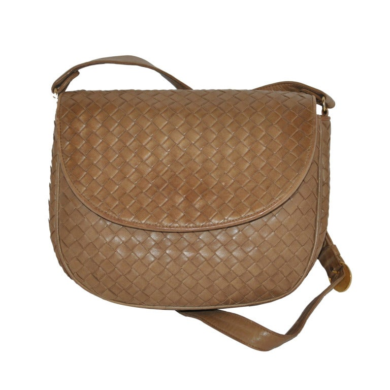 Bottega Veneta Taupe Woven Lambskin Shoulder Bag