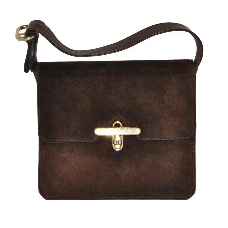 Gucci Classic Coco-Brown Suede Handbag 1