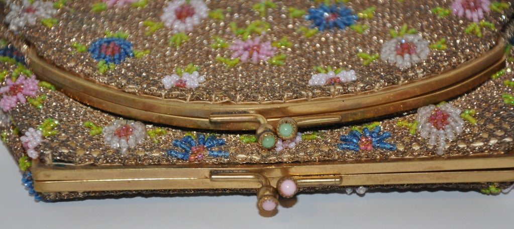Brown Rare Brooks Multicolored Micro-Seed Double-Purse Beaded Purse For Sale