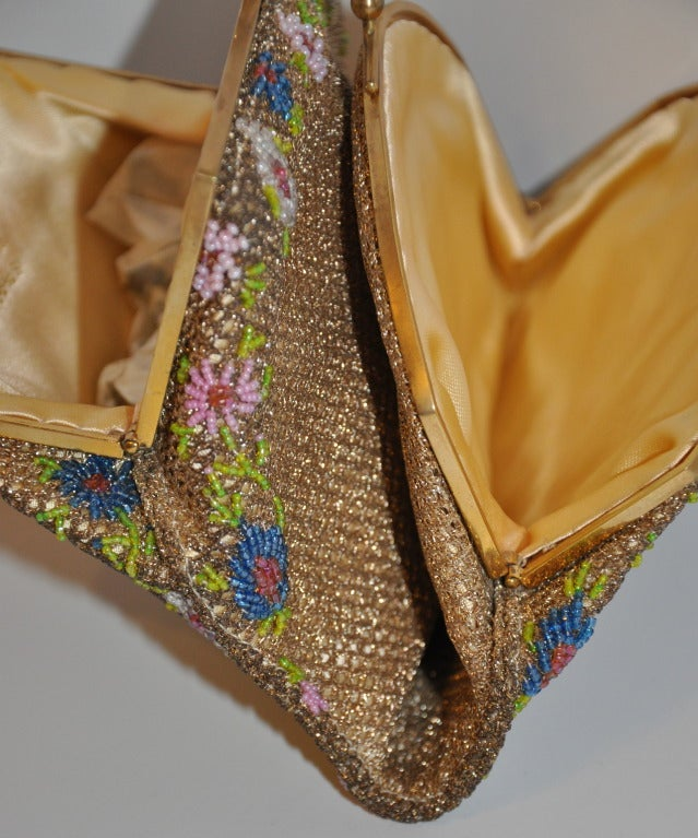Rare Brooks Multicolored Micro-Seed Double-Purse Beaded Purse In Excellent Condition For Sale In New York, NY