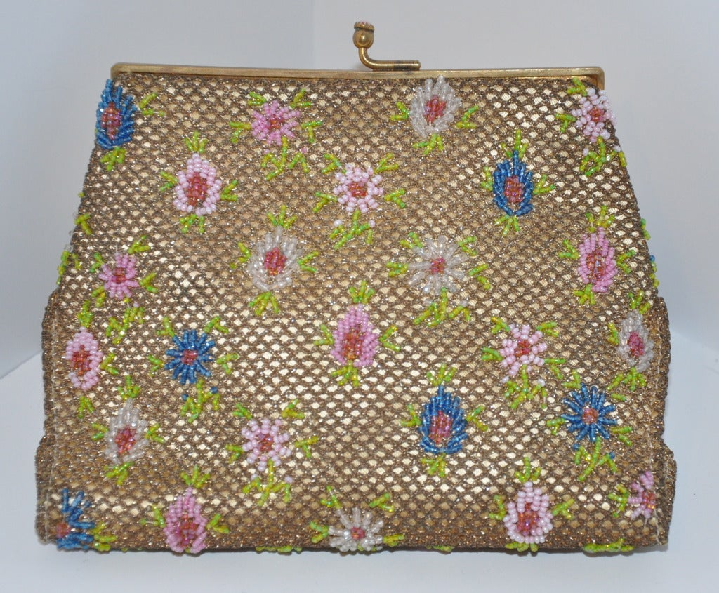 Women's Rare Brooks Multicolored Micro-Seed Double-Purse Beaded Purse For Sale