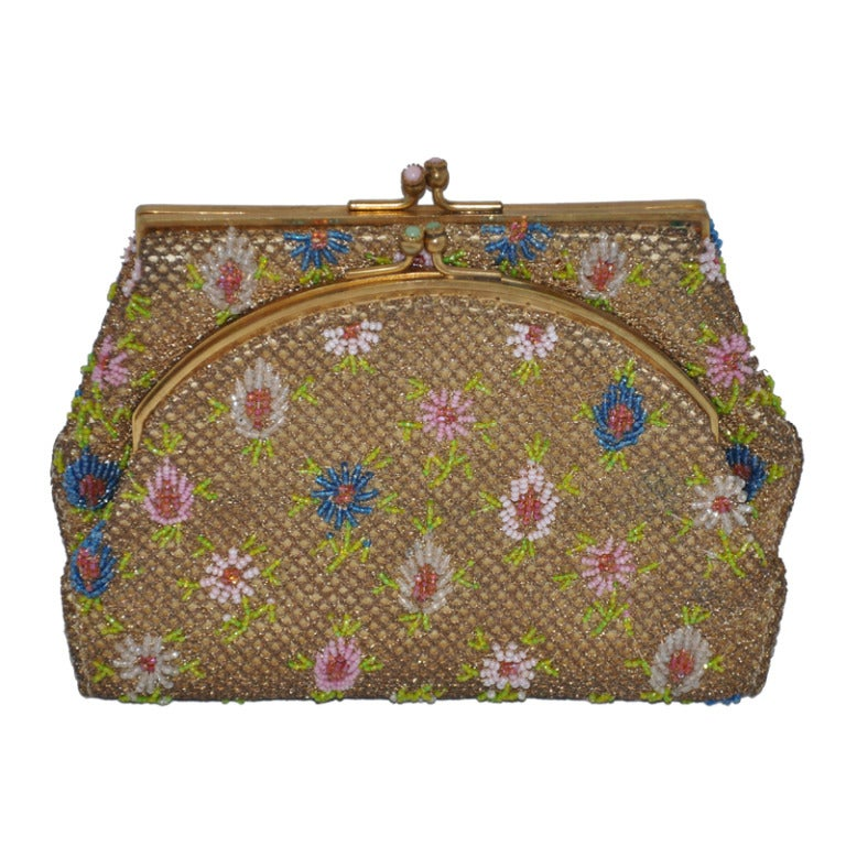 Rare Brooks Multicolored Micro-Seed Double-Purse Beaded Purse For Sale