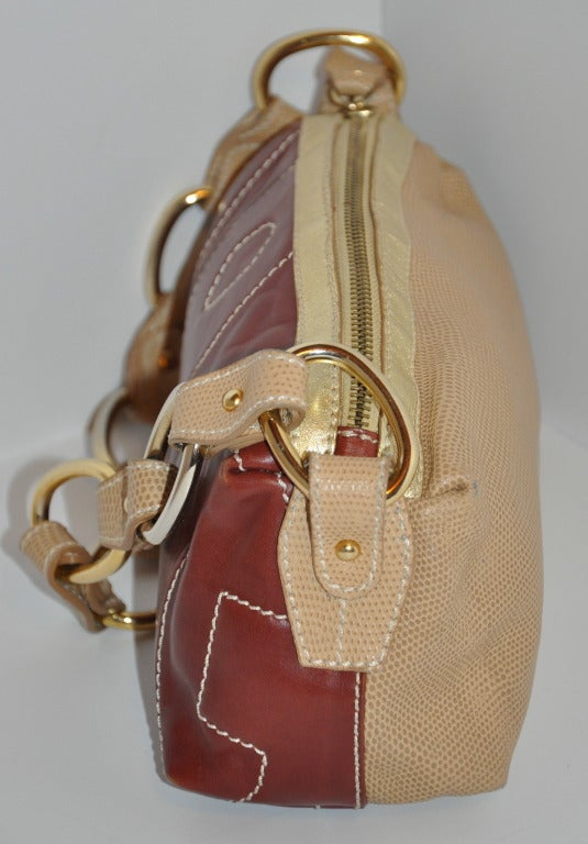Brown Dolce & Gabbana Multi-Textured leather bag For Sale