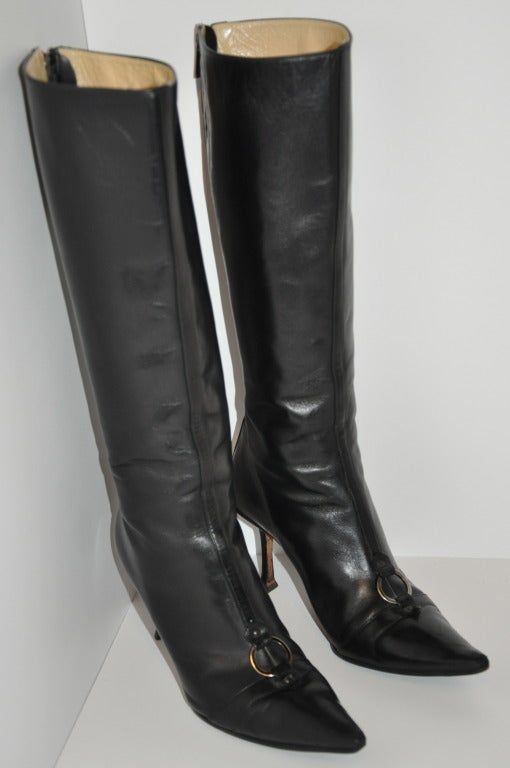 Jimmy Choo Black Leather Boots with Buckle In Good Condition For Sale In New York, NY