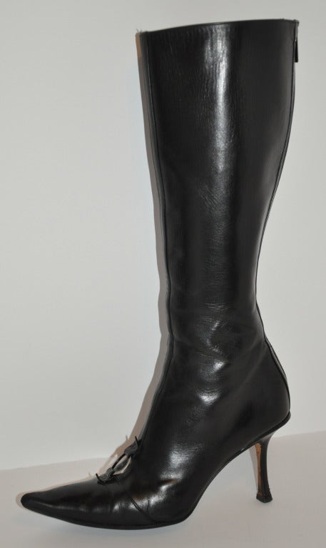 Women's Jimmy Choo Black Leather Boots with Buckle For Sale