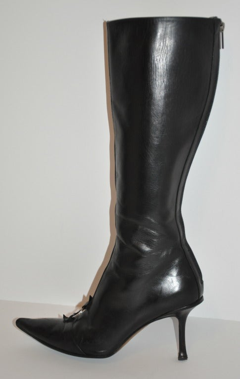 Jimmy Choo Black Leather Boots with Buckle For Sale 1