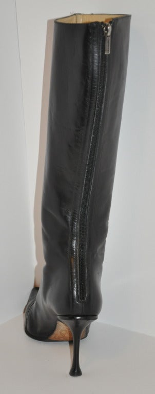 Jimmy Choo Black Leather Boots with Buckle For Sale 2