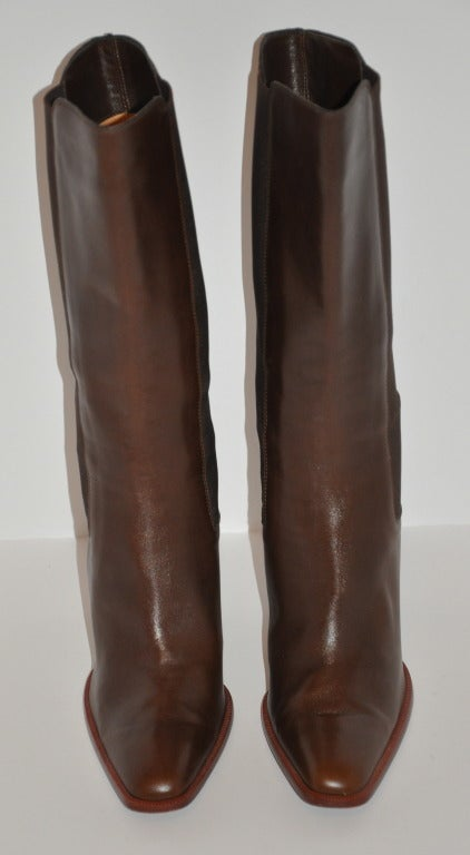TOD'S Brown Leather Boots with Spandex Sides 2