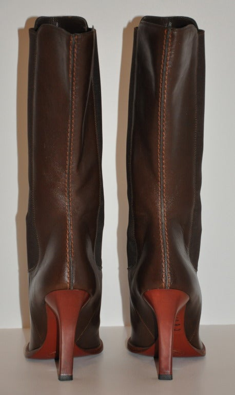 TOD'S Brown Leather Boots with Spandex Sides 3