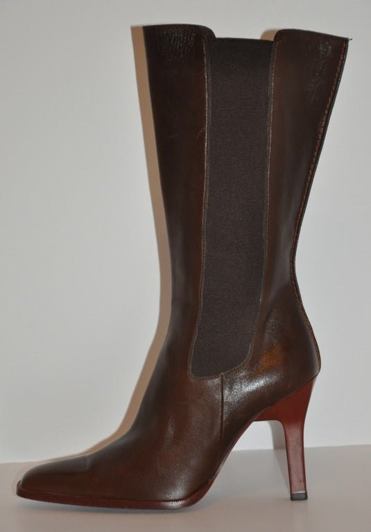 TOD'S Brown Leather Boots with Spandex Sides 4
