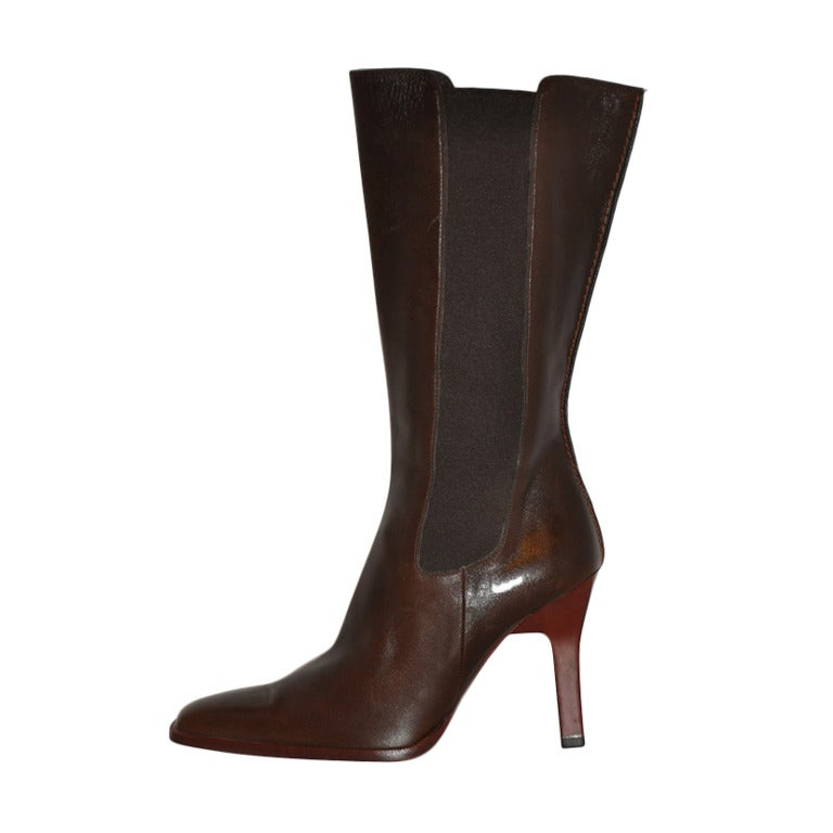 TOD'S Brown Leather Boots with Spandex Sides 1