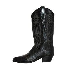 Dan Post Black Leather Cowboy Boots