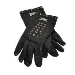 Christian Dior Black Leather and Hardware Gloves