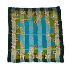 Lanvin Floral Print Silk & Chiffon Scarf