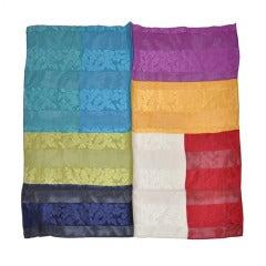 Oscar de la Renta Multicolored Silk and Chiffon Scarf