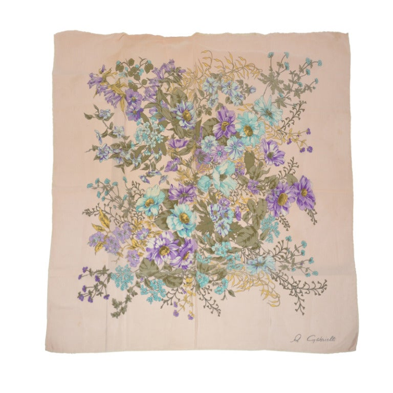 gabrielli floral silk scarf for sale at 1stdibs