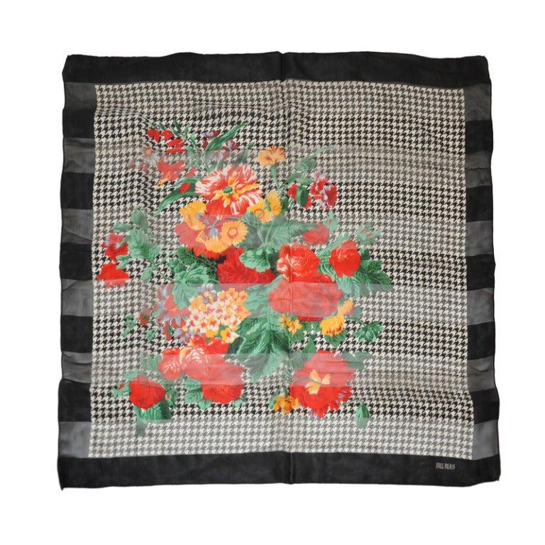 Bill Blass Black & White with Floral Print Silk Scarf