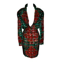 Red, Green & Gold sequined suit