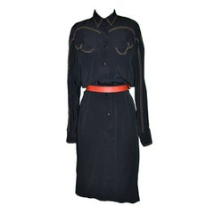 "Thierry Mugler Black Viscose 'Cowgirl"" button dress"