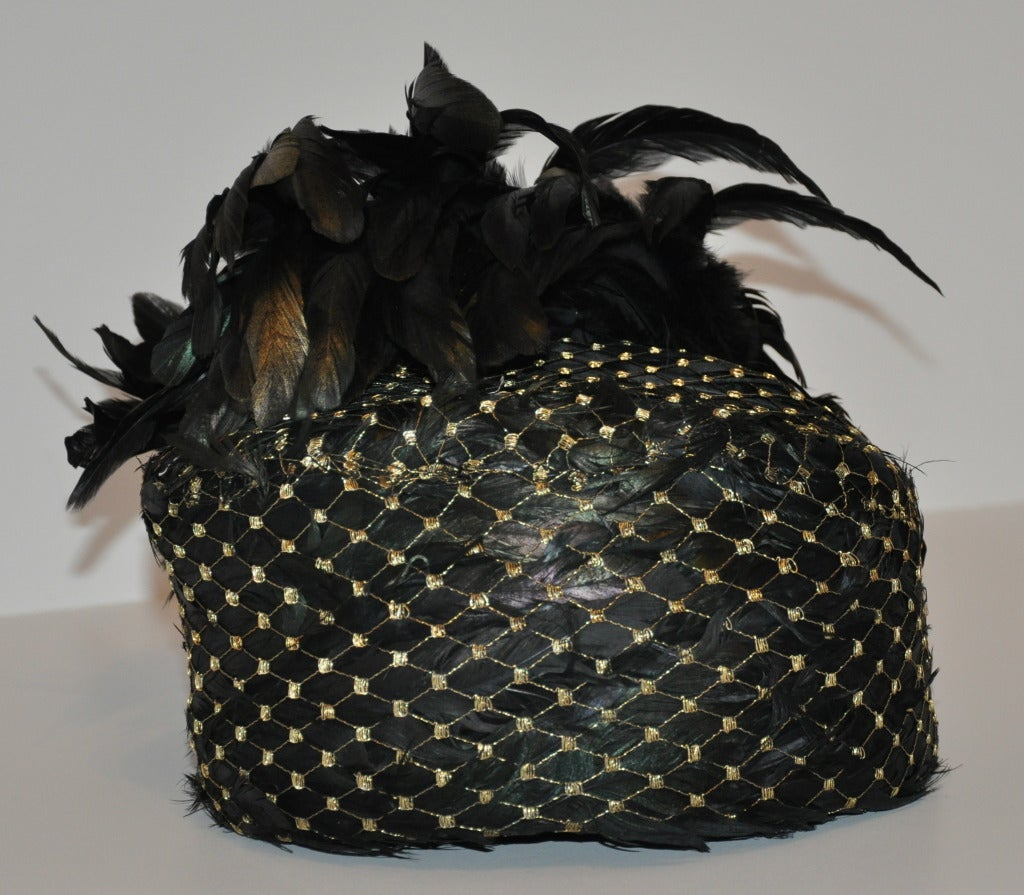 Black Kokin Iridescence Feather with Gold Lame Netting Hat For Sale