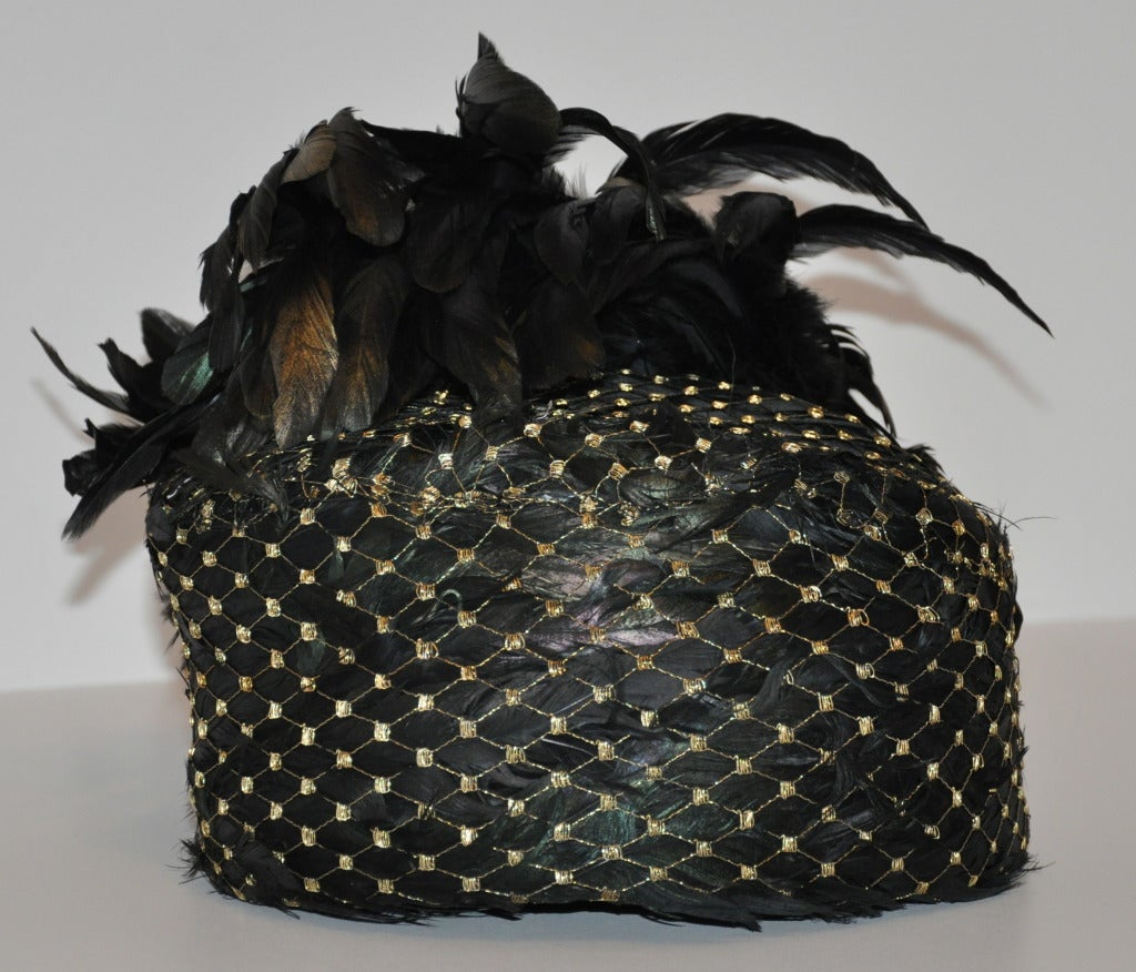 Kokin Iridescence Feather with Gold Lame Netting Hat In Excellent Condition For Sale In New York, NY