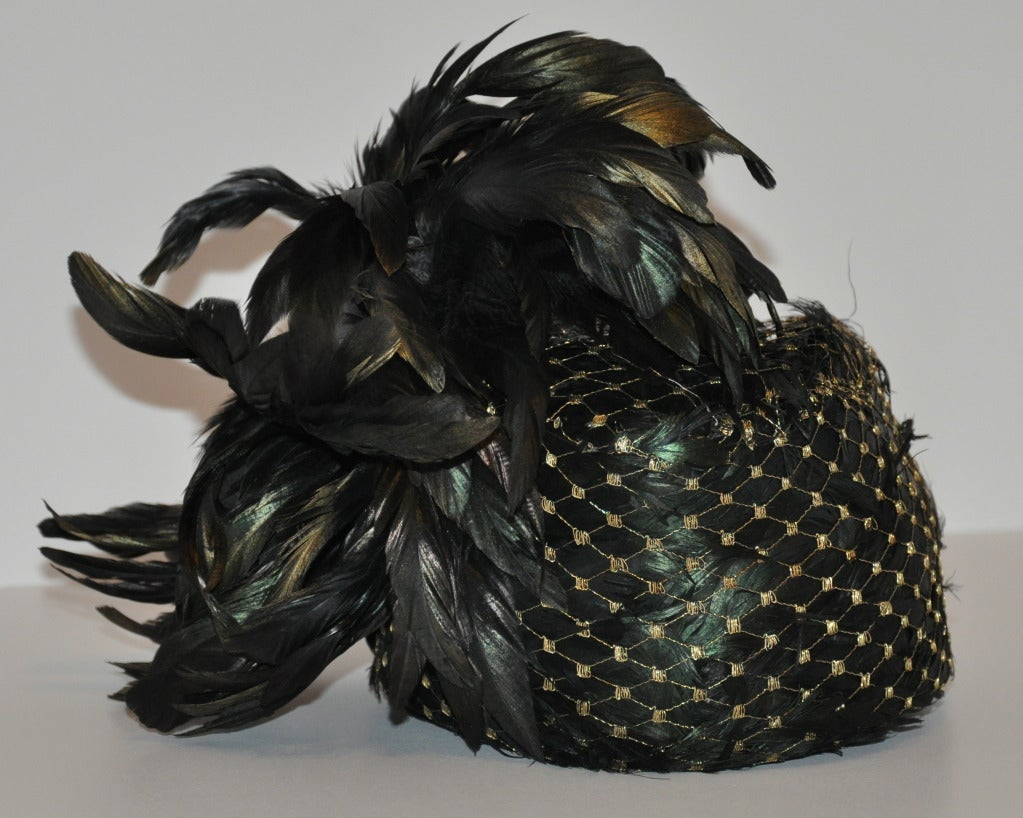 Women's Kokin Iridescence Feather with Gold Lame Netting Hat For Sale