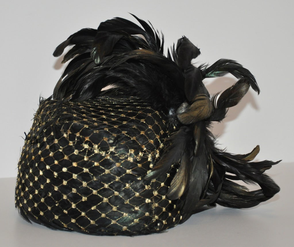 Kokin Iridescence Feather with Gold Lame Netting Hat For Sale 1