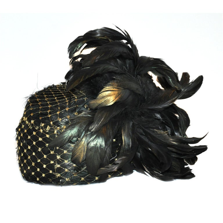Kokin Iridescence Feather with Gold Lame Netting Hat For Sale