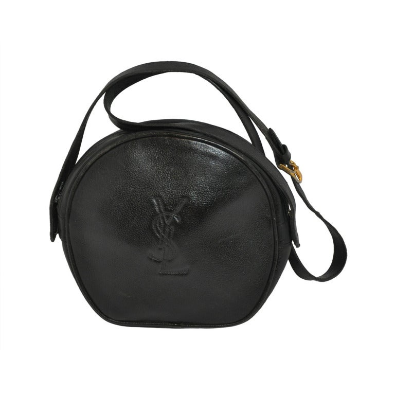Yves Saint Laurent Black Textured Calfskin Shoulder Bag at 1stdibs