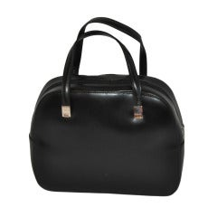 KessLord Black Calfskin Double-Handle Handbag