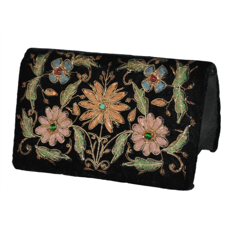 Fabrikant's Black Velvet with Floral Embellishment Evening Bag For Sale