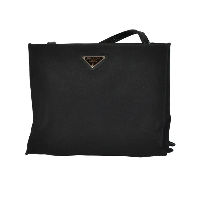Prada Black Silk and Leather Evening Shoulder Bag