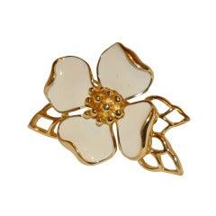 Trifari Gold & Enamel Floral Brooch