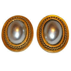 Yves Saint Laurent Gilded Gold and Pearl Clip-On Earrings