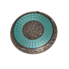 Victorian Silver and Inlaid Enamel Compact