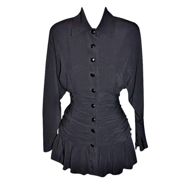 Jean-Louis Scherrer black ruffled blouse
